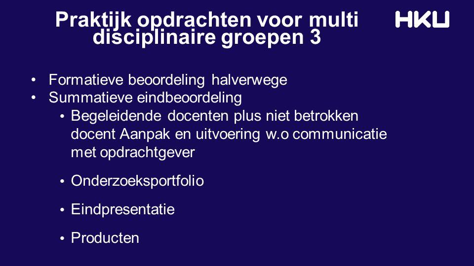 Praktijk opdrachten voor multi disciplinaire groepen 3 Formatieve beoordeling halverwege Summatieve eindbeoordeling Begeleidende docenten plus niet be