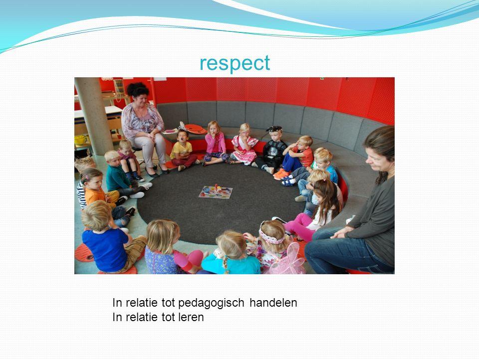 respect In relatie tot pedagogisch handelen In relatie tot leren