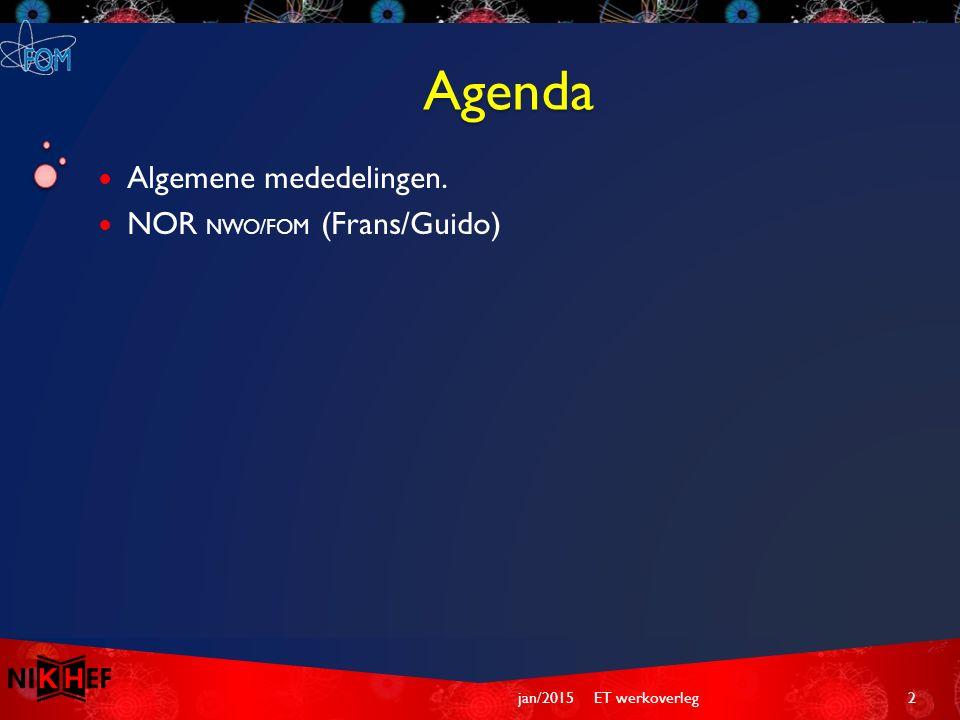 Agenda Algemene mededelingen. NOR NWO/FOM (Frans/Guido) ET werkoverleg2jan/2015