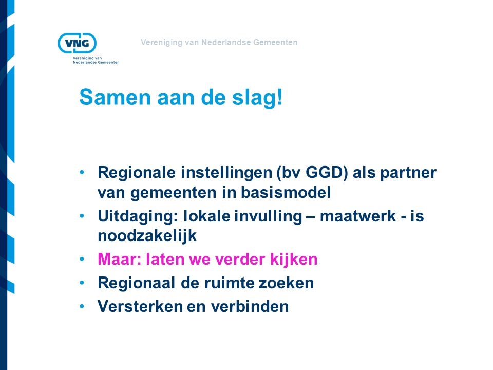 Vereniging van Nederlandse Gemeenten Samen aan de slag.