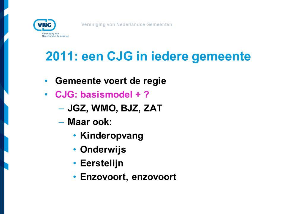 Vereniging van Nederlandse Gemeenten 2011: een CJG in iedere gemeente Gemeente voert de regie CJG: basismodel + .