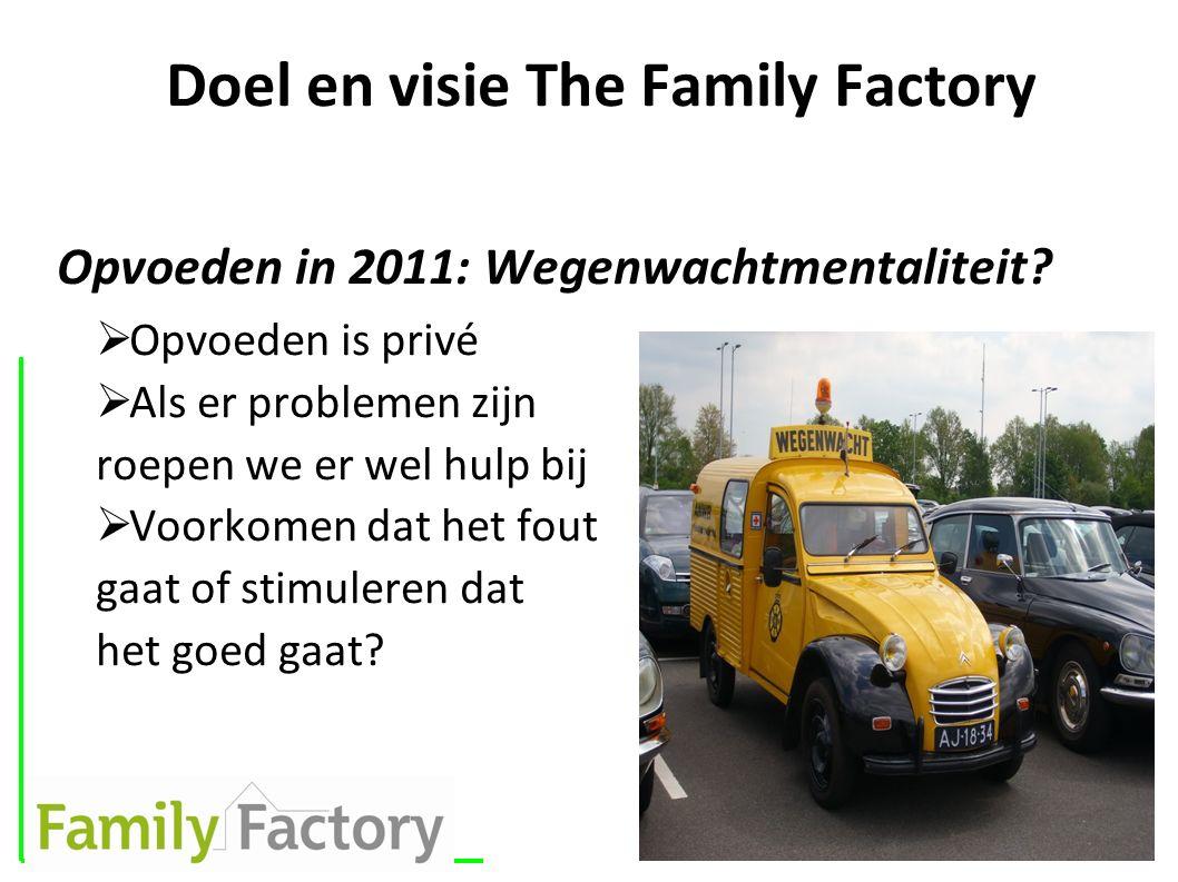 Doel en visie The Family Factory Opvoeden in 2011: Wegenwachtmentaliteit?  Opvoeden is privé  Als er problemen zijn roepen we er wel hulp bij  Voor