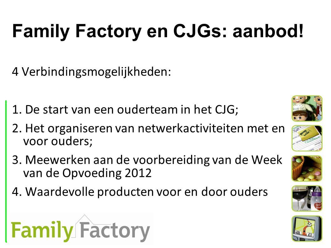 Family Factory en CJGs: aanbod! 4 Verbindingsmogelijkheden: 1. De start van een ouderteam in het CJG; 2. Het organiseren van netwerkactiviteiten met e