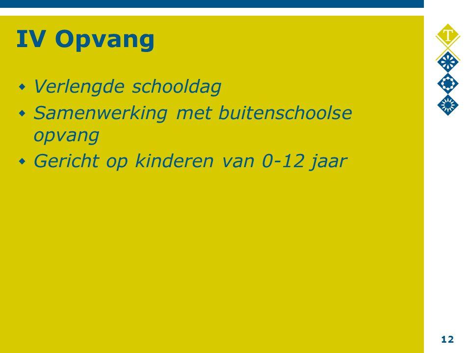 12 IV Opvang Verlengde schooldag Samenwerking met buitenschoolse opvang Gericht op kinderen van 0-12 jaar