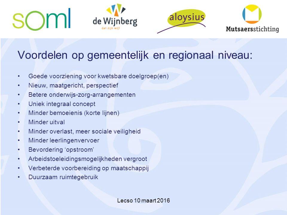 Voordelen op gemeentelijk en regionaal niveau: Goede voorziening voor kwetsbare doelgroep(en) Nieuw, maatgericht, perspectief Betere onderwijs-zorg-ar