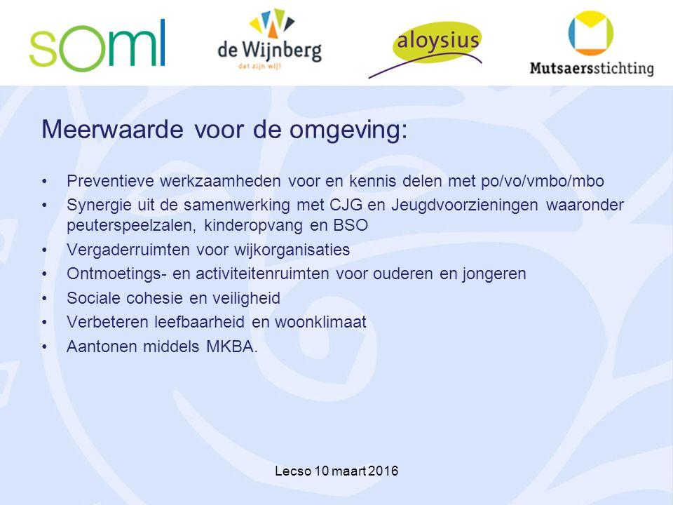 Meerwaarde voor de omgeving: Preventieve werkzaamheden voor en kennis delen met po/vo/vmbo/mbo Synergie uit de samenwerking met CJG en Jeugdvoorzienin