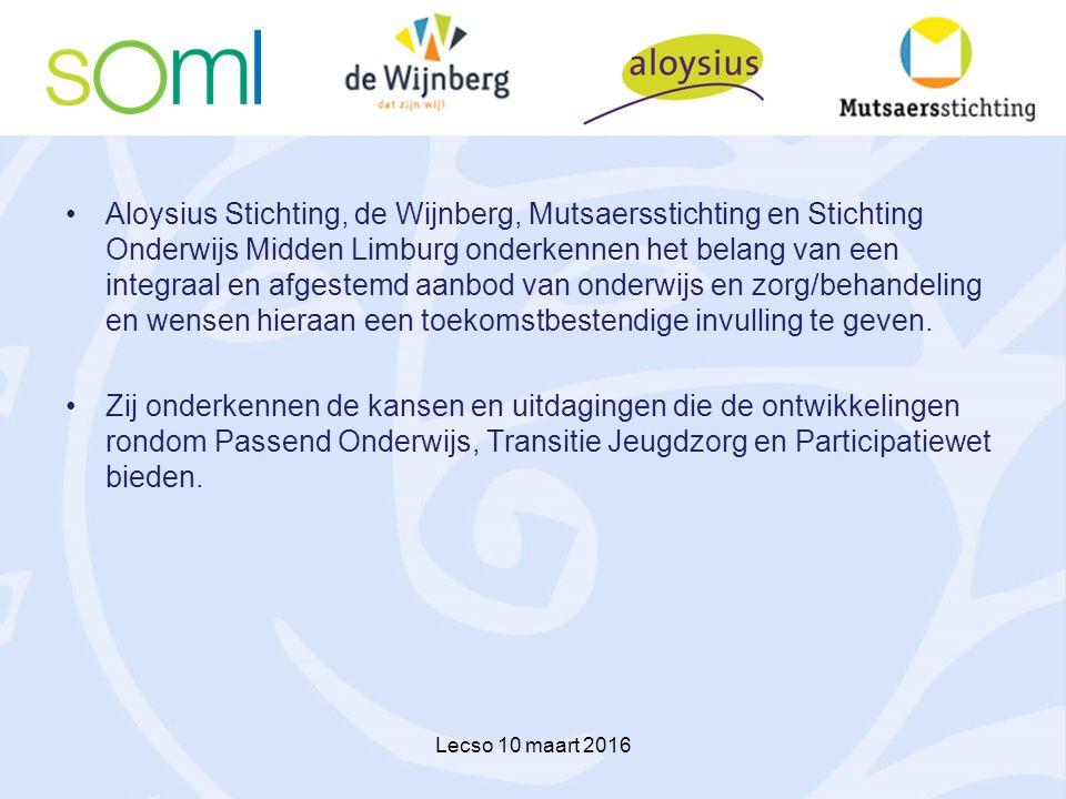 Aloysius Stichting, de Wijnberg, Mutsaersstichting en Stichting Onderwijs Midden Limburg onderkennen het belang van een integraal en afgestemd aanbod