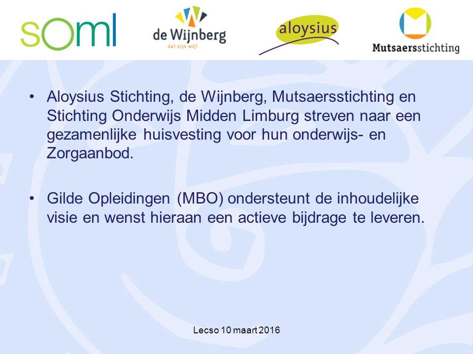 Aloysius Stichting, de Wijnberg, Mutsaersstichting en Stichting Onderwijs Midden Limburg streven naar een gezamenlijke huisvesting voor hun onderwijs-