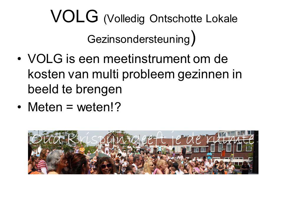 VOLG (Volledig Ontschotte Lokale Gezinsondersteuning ) VOLG is een meetinstrument om de kosten van multi probleem gezinnen in beeld te brengen Meten = weten!