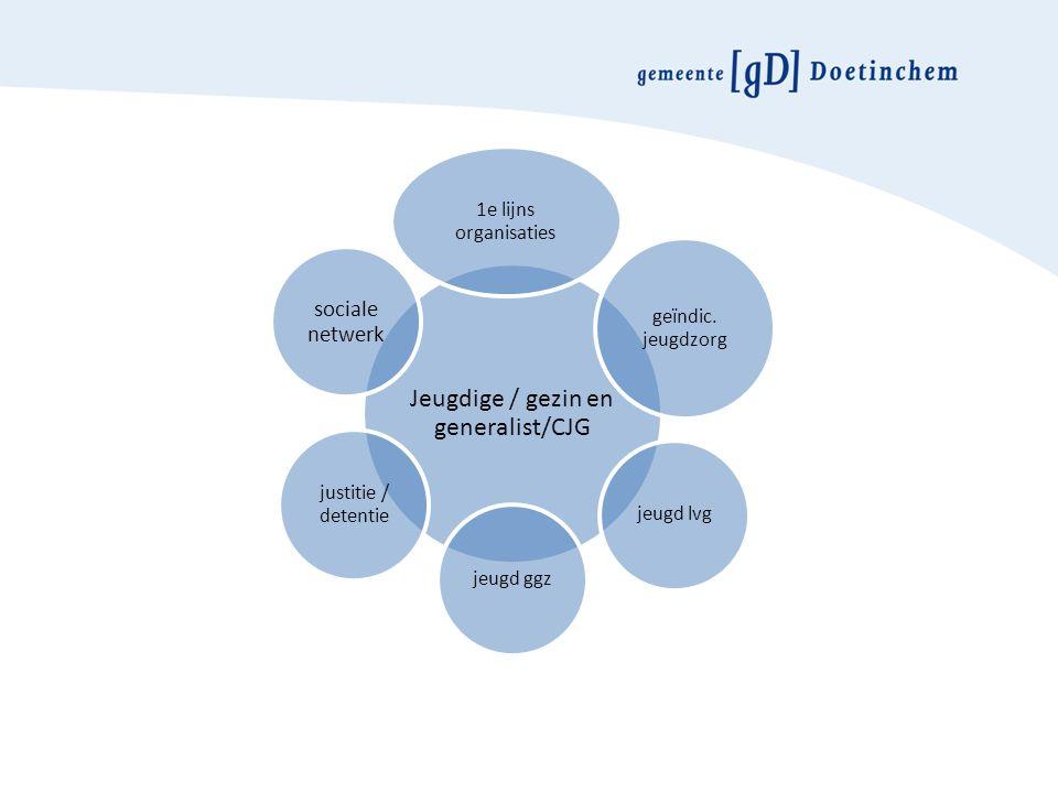 Jeugdige / gezin en generalist/CJG 1e lijns organisaties geïndic.