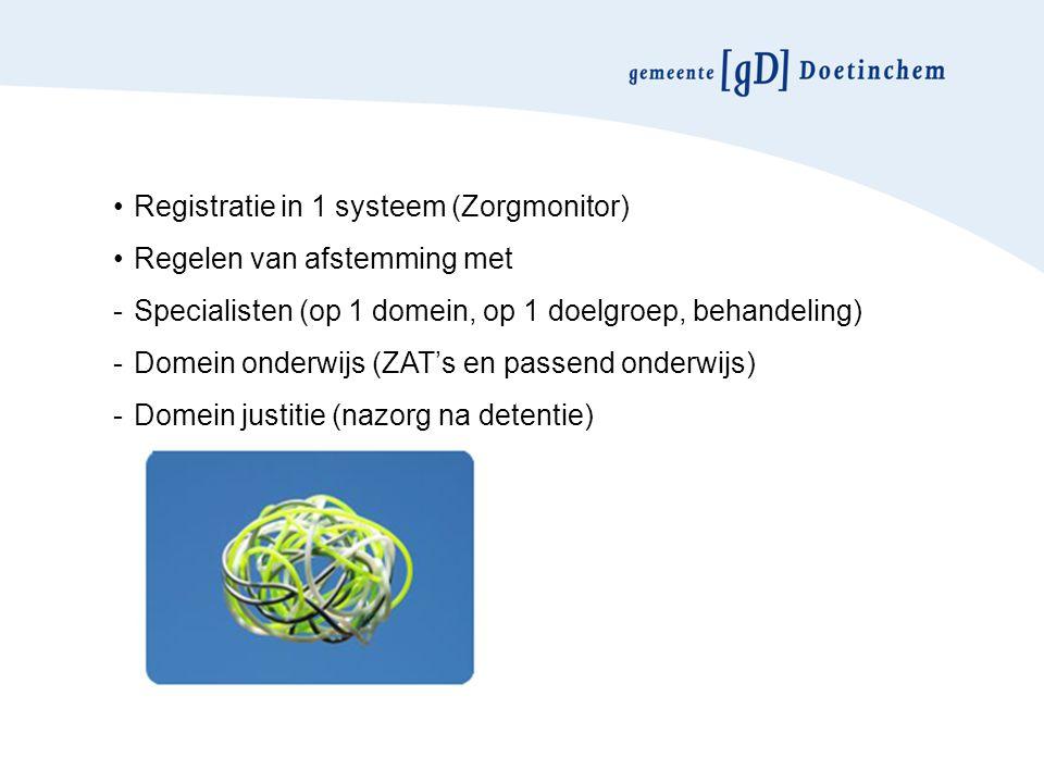 Registratie in 1 systeem (Zorgmonitor) Regelen van afstemming met -Specialisten (op 1 domein, op 1 doelgroep, behandeling) -Domein onderwijs (ZAT's en passend onderwijs) -Domein justitie (nazorg na detentie)