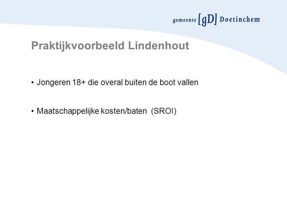 Praktijkvoorbeeld Lindenhout Jongeren 18+ die overal buiten de boot vallen Maatschappelijke kosten/baten (SROI)