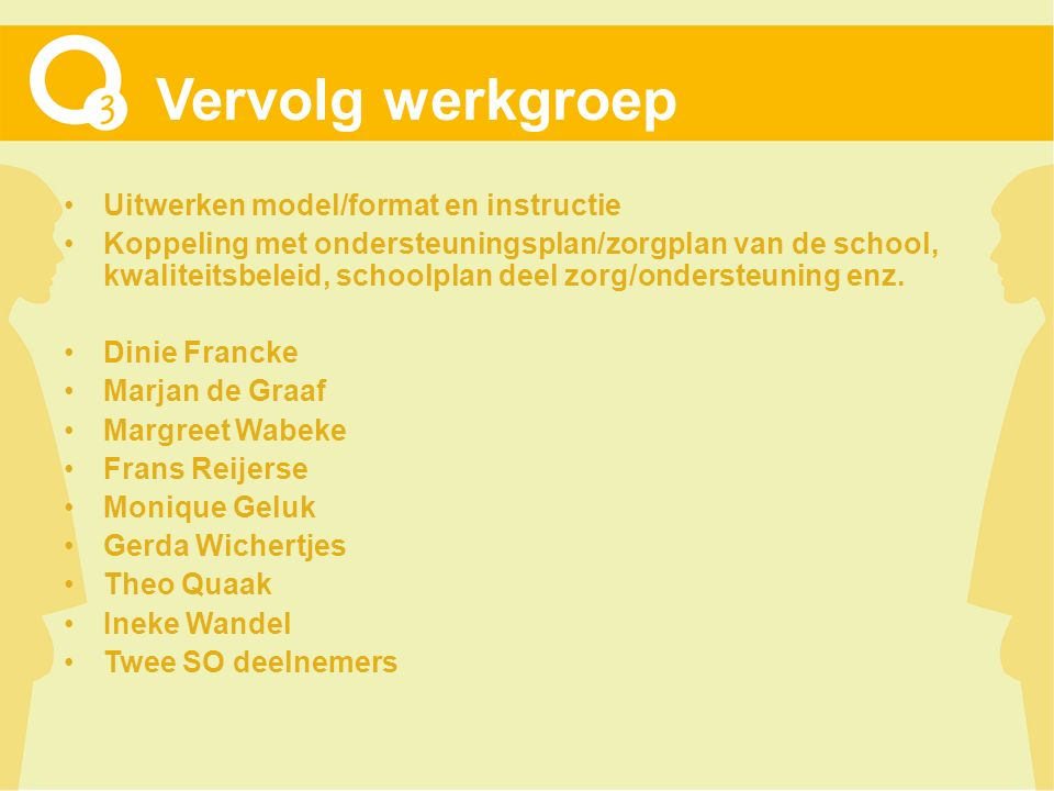 Vervolg werkgroep Uitwerken model/format en instructie Koppeling met ondersteuningsplan/zorgplan van de school, kwaliteitsbeleid, schoolplan deel zorg/ondersteuning enz.