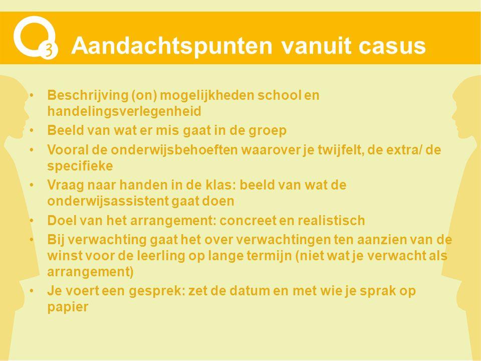 Aandachtspunten vanuit casus Beschrijving (on) mogelijkheden school en handelingsverlegenheid Beeld van wat er mis gaat in de groep Vooral de onderwij