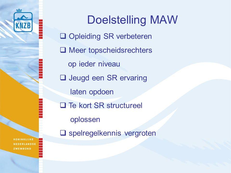 Doelstelling MAW  Opleiding SR verbeteren  Meer topscheidsrechters op ieder niveau  Jeugd een SR ervaring laten opdoen  Te kort SR structureel oplossen  spelregelkennis vergroten