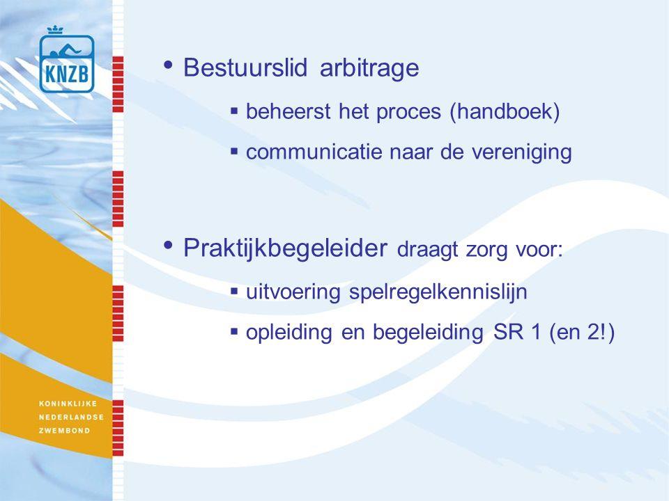 Bestuurslid arbitrage  beheerst het proces (handboek)  communicatie naar de vereniging Praktijkbegeleider draagt zorg voor:  uitvoering spelregelkennislijn  opleiding en begeleiding SR 1 (en 2!)