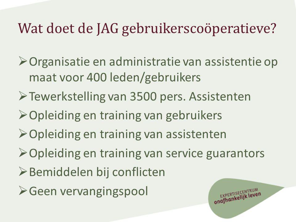 JAG gebruikerscoöperatieve: financieel  Middelen: budgetten voor de persoonlijke assistentie van hun gebruikers  € 26 per uur.