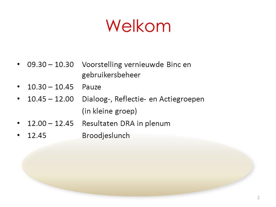 Welkom 09.30 – 10.30Voorstelling vernieuwde Binc en gebruikersbeheer 10.30 – 10.45Pauze 10.45 – 12.00 Dialoog-, Reflectie- en Actiegroepen (in kleine groep) 12.00 – 12.45Resultaten DRA in plenum 12.45Broodjeslunch 2