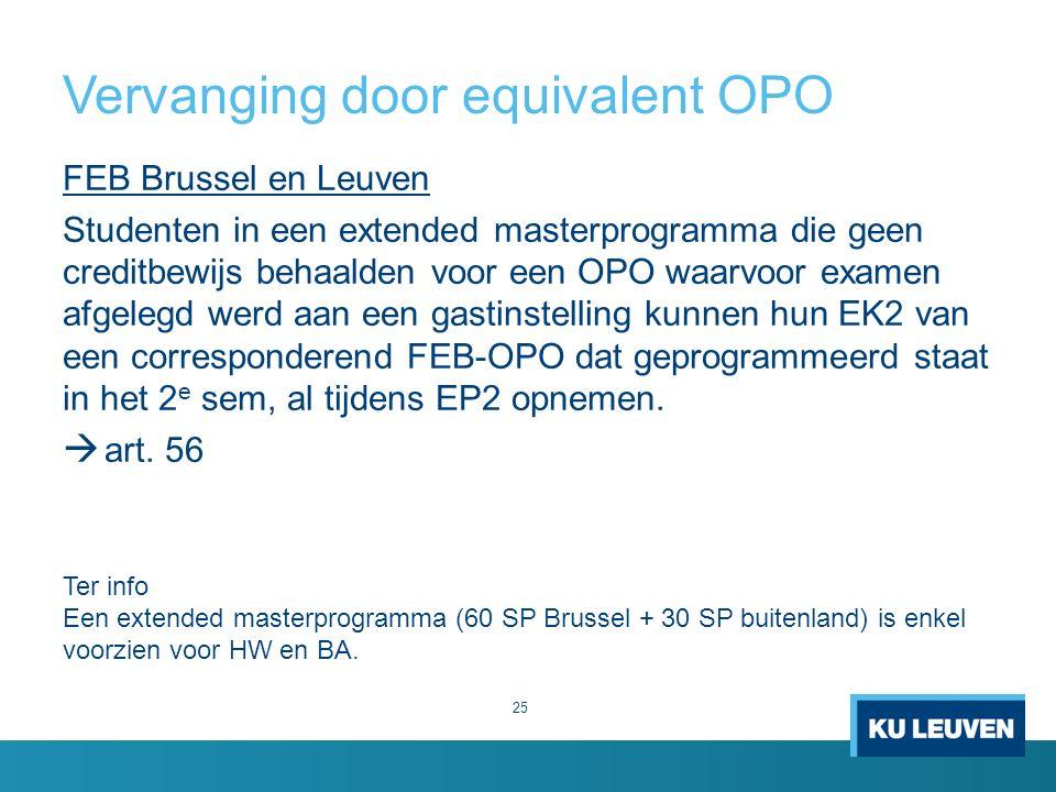 Vervanging door equivalent OPO 25 FEB Brussel en Leuven Studenten in een extended masterprogramma die geen creditbewijs behaalden voor een OPO waarvoor examen afgelegd werd aan een gastinstelling kunnen hun EK2 van een corresponderend FEB-OPO dat geprogrammeerd staat in het 2 e sem, al tijdens EP2 opnemen.