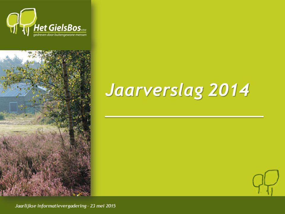 Jaarlijkse informatievergadering – 23 mei 2015 Jaarverslag 2014