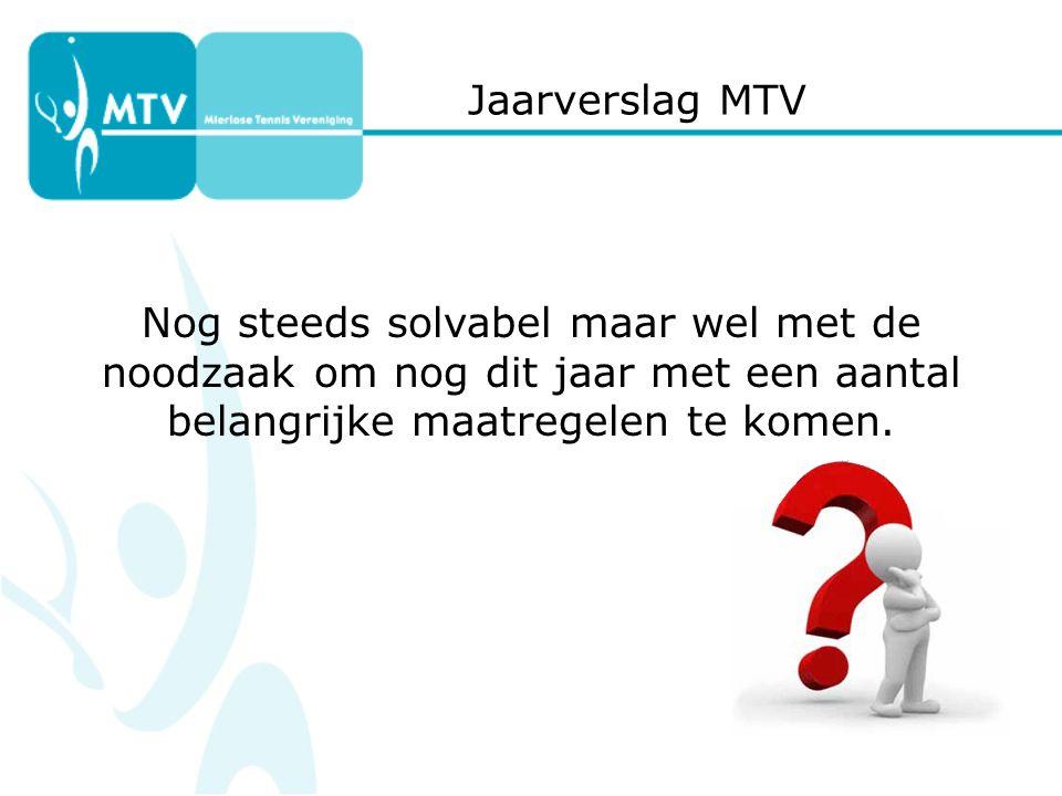 Jaarverslag MTV Nog steeds solvabel maar wel met de noodzaak om nog dit jaar met een aantal belangrijke maatregelen te komen.