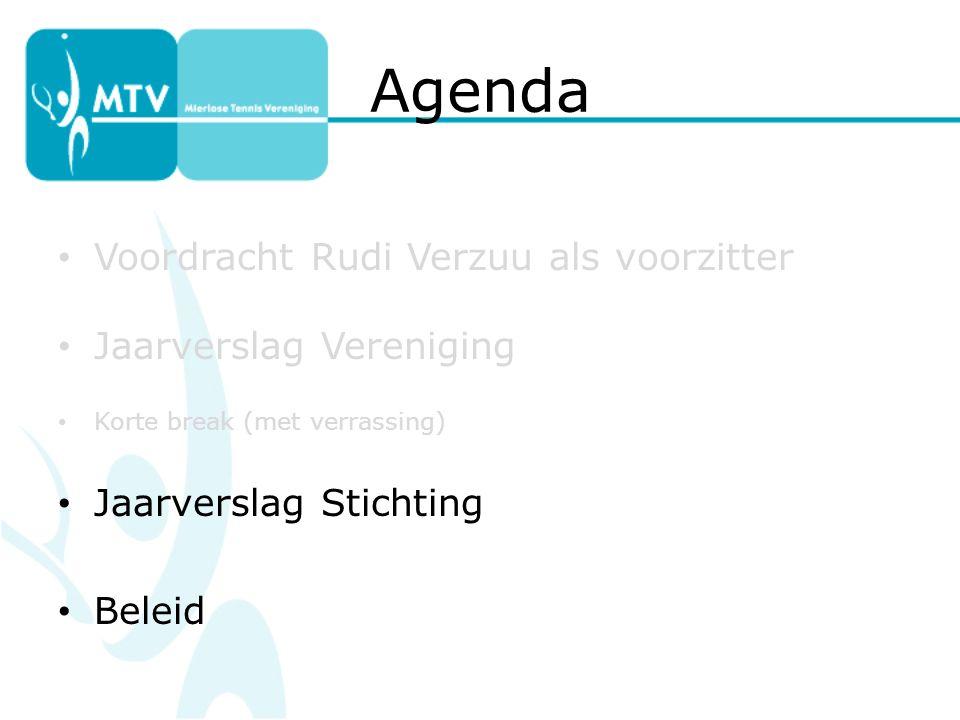 Agenda Voordracht Rudi Verzuu als voorzitter Jaarverslag Vereniging Korte break (met verrassing) Jaarverslag Stichting Beleid