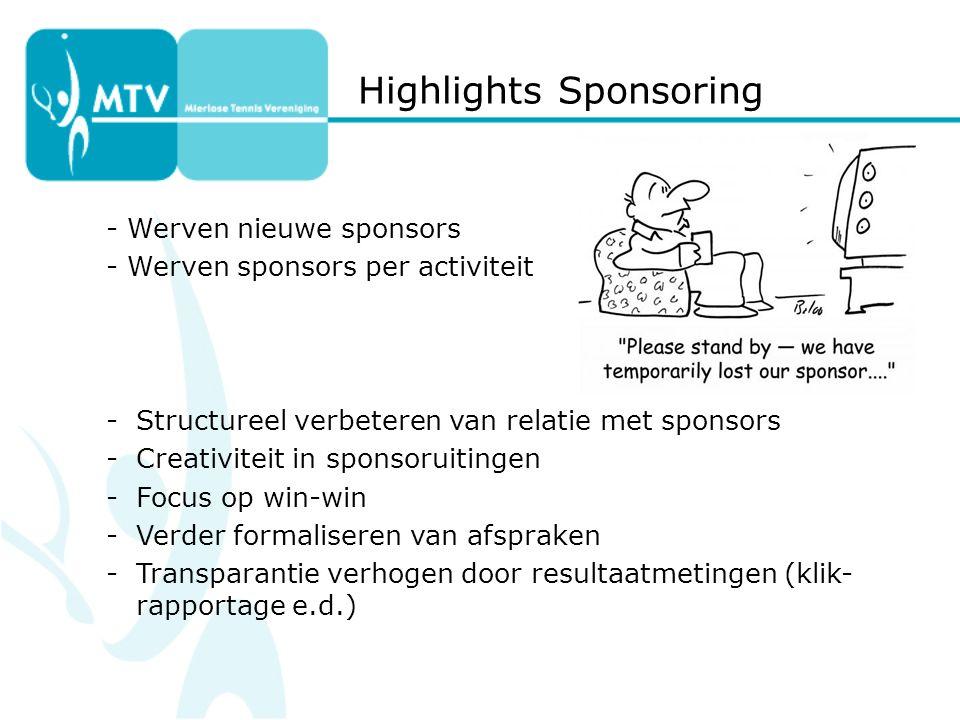 - Werven nieuwe sponsors - Werven sponsors per activiteit -Structureel verbeteren van relatie met sponsors -Creativiteit in sponsoruitingen -Focus op win-win -Verder formaliseren van afspraken -Transparantie verhogen door resultaatmetingen (klik- rapportage e.d.) Highlights Sponsoring