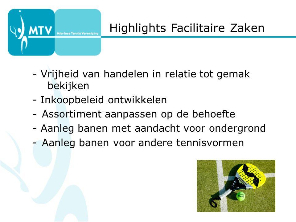 Highlights Facilitaire Zaken - Vrijheid van handelen in relatie tot gemak bekijken - Inkoopbeleid ontwikkelen -Assortiment aanpassen op de behoefte - Aanleg banen met aandacht voor ondergrond -Aanleg banen voor andere tennisvormen