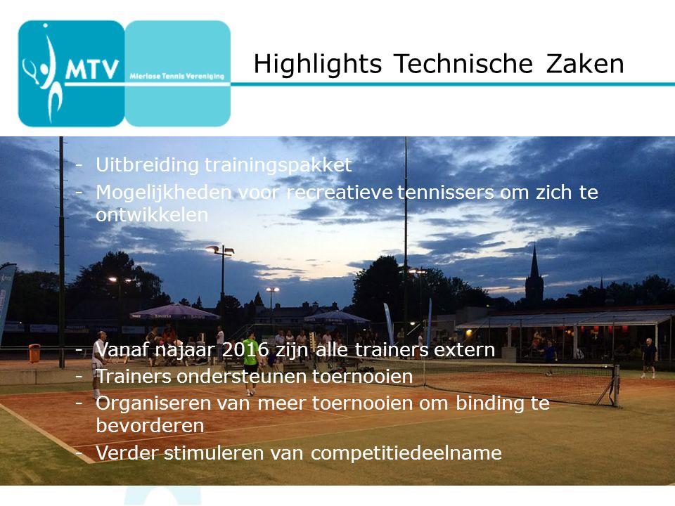 Highlights Technische Zaken -Uitbreiding trainingspakket -Mogelijkheden voor recreatieve tennissers om zich te ontwikkelen -Vanaf najaar 2016 zijn alle trainers extern -Trainers ondersteunen toernooien -Organiseren van meer toernooien om binding te bevorderen -Verder stimuleren van competitiedeelname