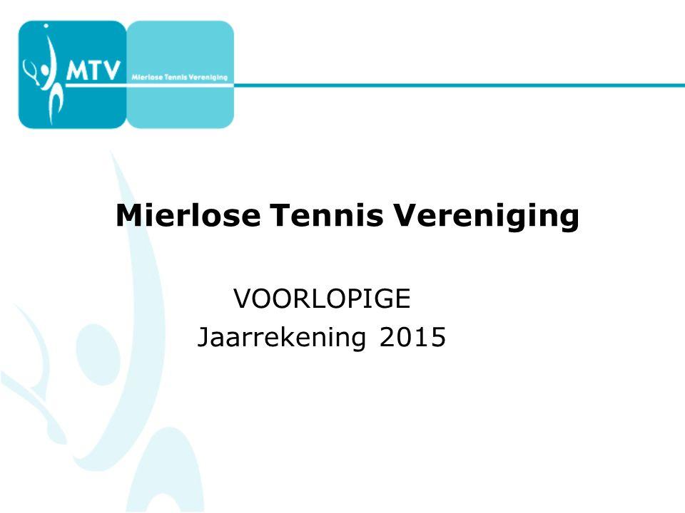 Mierlose Tennis Vereniging VOORLOPIGE Jaarrekening 2015