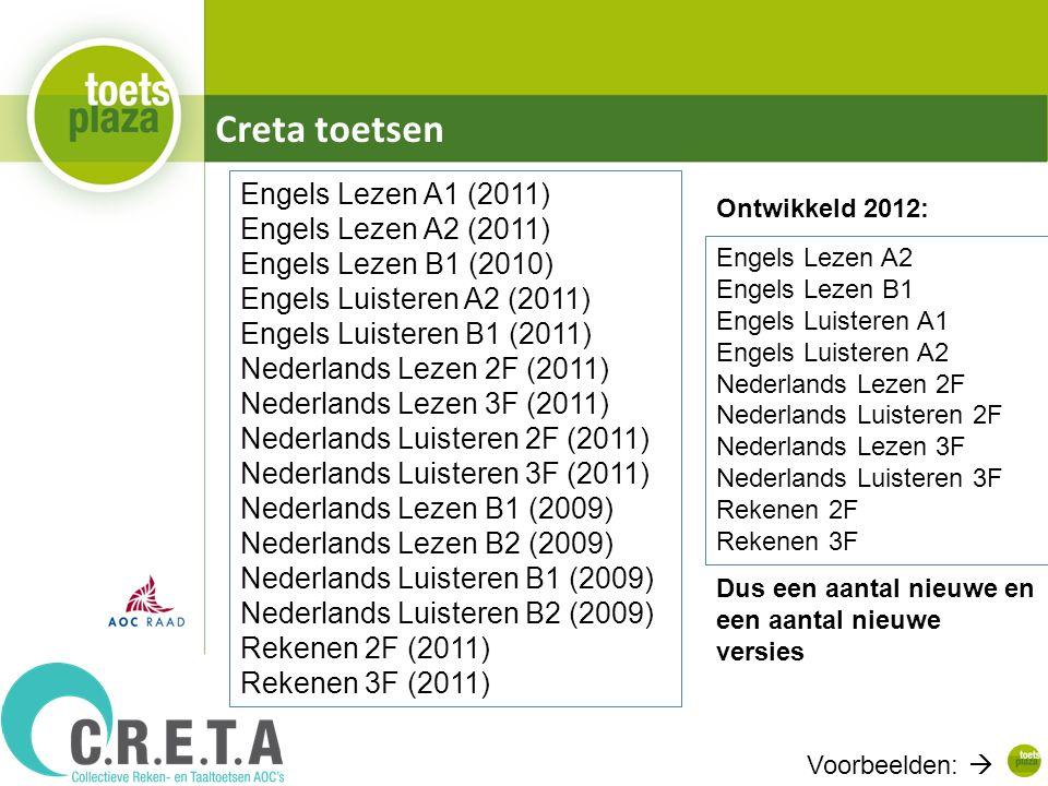 Creta toetsen Engels Lezen A1 (2011) Engels Lezen A2 (2011) Engels Lezen B1 (2010) Engels Luisteren A2 (2011) Engels Luisteren B1 (2011) Nederlands Lezen 2F (2011) Nederlands Lezen 3F (2011) Nederlands Luisteren 2F (2011) Nederlands Luisteren 3F (2011) Nederlands Lezen B1 (2009) Nederlands Lezen B2 (2009) Nederlands Luisteren B1 (2009) Nederlands Luisteren B2 (2009) Rekenen 2F (2011) Rekenen 3F (2011) Engels Lezen A2 Engels Lezen B1 Engels Luisteren A1 Engels Luisteren A2 Nederlands Lezen 2F Nederlands Luisteren 2F Nederlands Lezen 3F Nederlands Luisteren 3F Rekenen 2F Rekenen 3F Ontwikkeld 2012: Dus een aantal nieuwe en een aantal nieuwe versies Voorbeelden: 