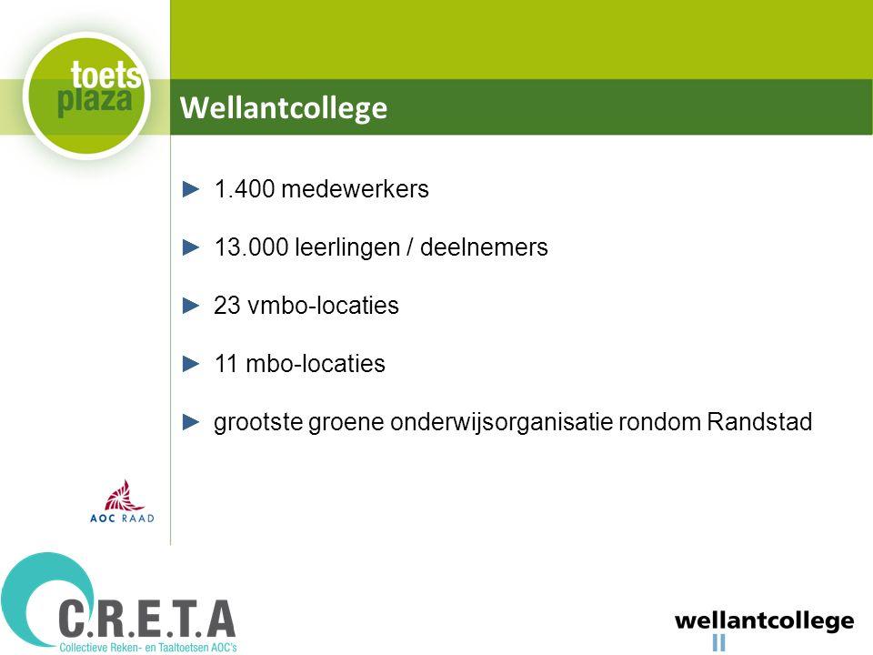 Wellantcollege ►1.400 medewerkers ►13.000 leerlingen / deelnemers ►23 vmbo-locaties ►11 mbo-locaties ►grootste groene onderwijsorganisatie rondom Randstad