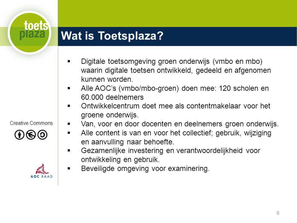 Wat is Toetsplaza?  Digitale toetsomgeving groen onderwijs (vmbo en mbo) waarin digitale toetsen ontwikkeld, gedeeld en afgenomen kunnen worden.  Al