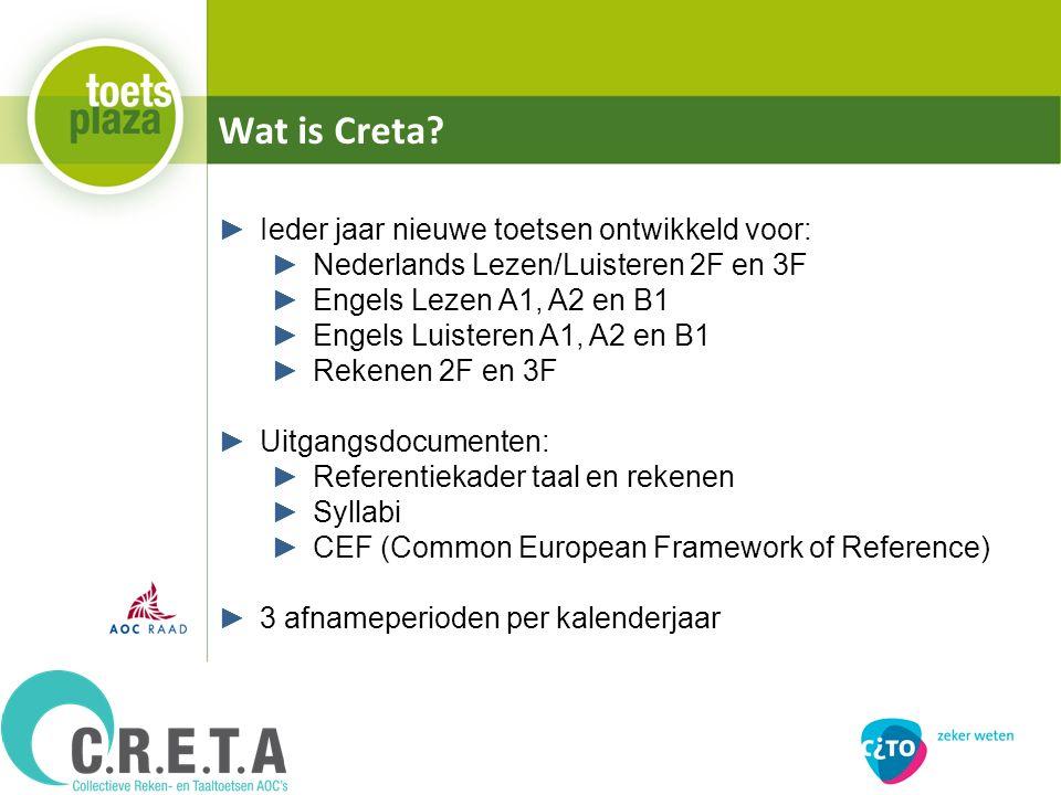 Wat is Creta? ►Ieder jaar nieuwe toetsen ontwikkeld voor: ►Nederlands Lezen/Luisteren 2F en 3F ►Engels Lezen A1, A2 en B1 ►Engels Luisteren A1, A2 en