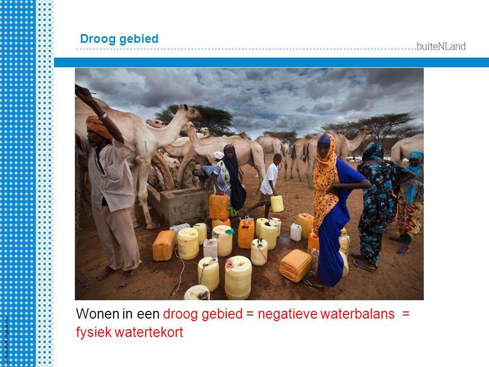 Droog gebied Wonen in een droog gebied = negatieve waterbalans = fysiek watertekort