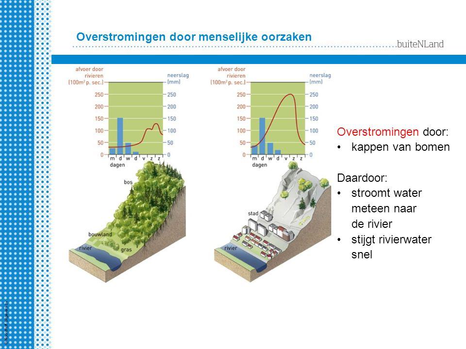 Langs de kust Aanlandige wind + zware storm = water wordt naar de kust geduwd Lage kustgebieden overstromen