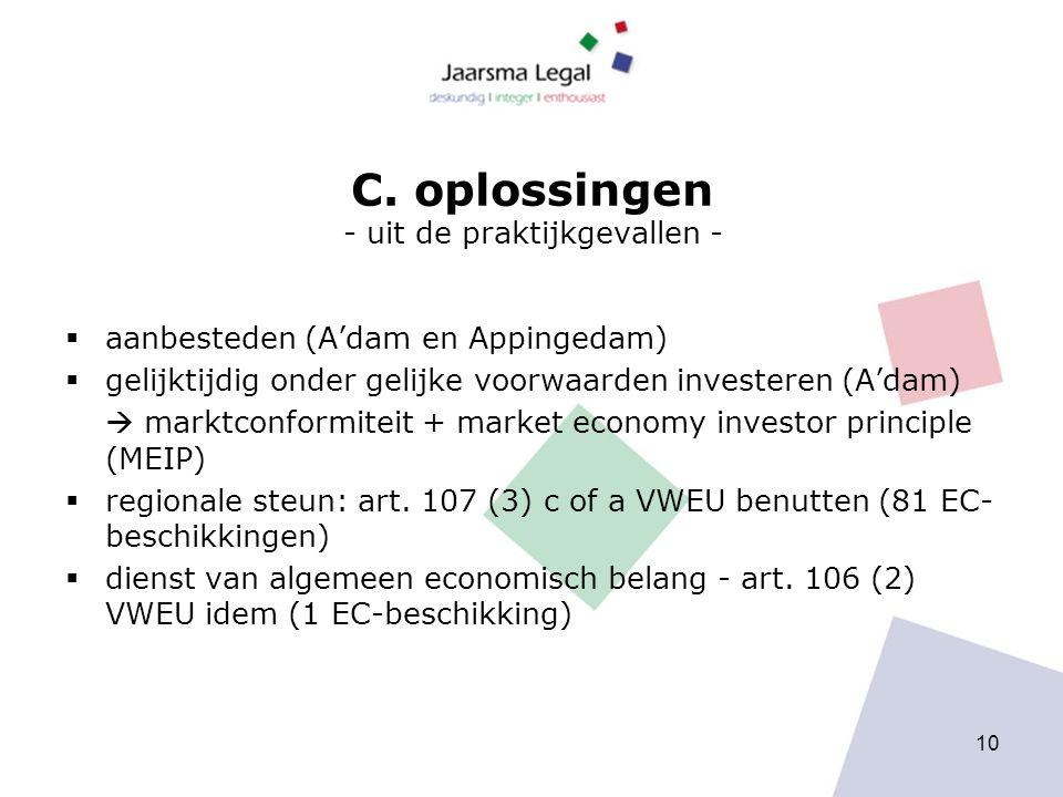 C. oplossingen - uit de praktijkgevallen -  aanbesteden (A'dam en Appingedam)  gelijktijdig onder gelijke voorwaarden investeren (A'dam)  marktconf