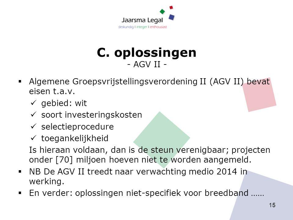 C. oplossingen - AGV II -  Algemene Groepsvrijstellingsverordening II (AGV II) bevat eisen t.a.v.