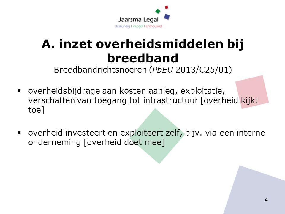 A. inzet overheidsmiddelen bij breedband Breedbandrichtsnoeren (PbEU 2013/C25/01)  overheidsbijdrage aan kosten aanleg, exploitatie, verschaffen van