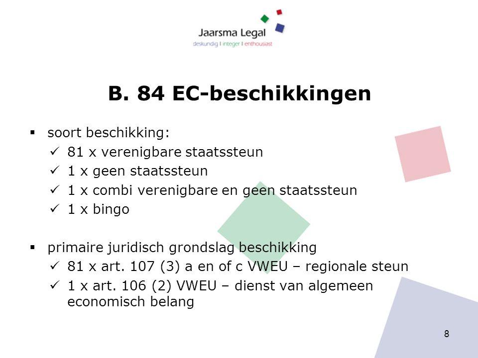 B. 84 EC-beschikkingen  soort beschikking: 81 x verenigbare staatssteun 1 x geen staatssteun 1 x combi verenigbare en geen staatssteun 1 x bingo  pr