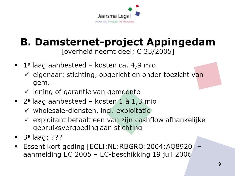 B. Damsternet-project Appingedam [overheid neemt deel; C 35/2005]  1 e laag aanbesteed – kosten ca. 4,9 mio eigenaar: stichting, opgericht en onder t
