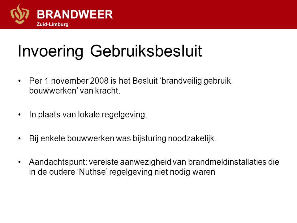 Invoering Gebruiksbesluit Per 1 november 2008 is het Besluit 'brandveilig gebruik bouwwerken' van kracht. In plaats van lokale regelgeving. Bij enkele