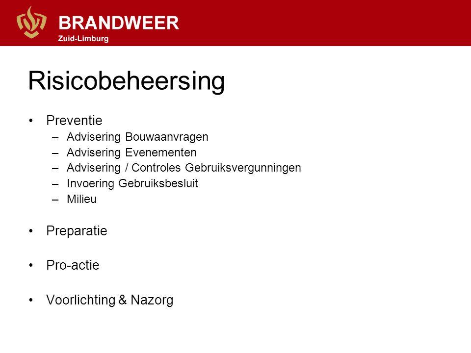 Preventie –Advisering Bouwaanvragen –Advisering Evenementen –Advisering / Controles Gebruiksvergunningen –Invoering Gebruiksbesluit –Milieu Preparatie