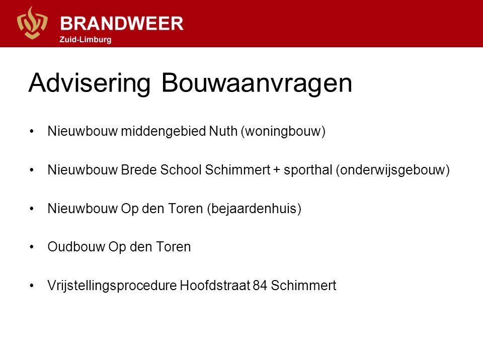 Advisering Bouwaanvragen Nieuwbouw middengebied Nuth (woningbouw) Nieuwbouw Brede School Schimmert + sporthal (onderwijsgebouw) Nieuwbouw Op den Toren