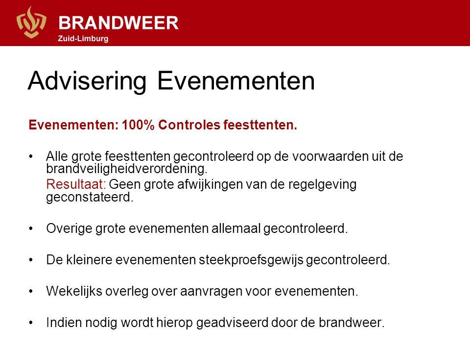Advisering Evenementen Evenementen: 100% Controles feesttenten. Alle grote feesttenten gecontroleerd op de voorwaarden uit de brandveiligheidverordeni
