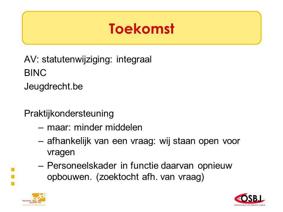 Toekomst AV: statutenwijziging: integraal BINC Jeugdrecht.be Praktijkondersteuning –maar: minder middelen –afhankelijk van een vraag: wij staan open v
