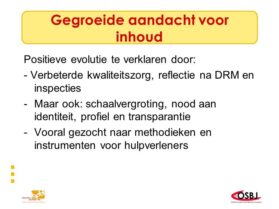 Vraag naar methodische ondersteuning Versnippering 1… Elke voorziening zijn methode/elke voorziening zijn vraag –Groei naar Nederlands model.