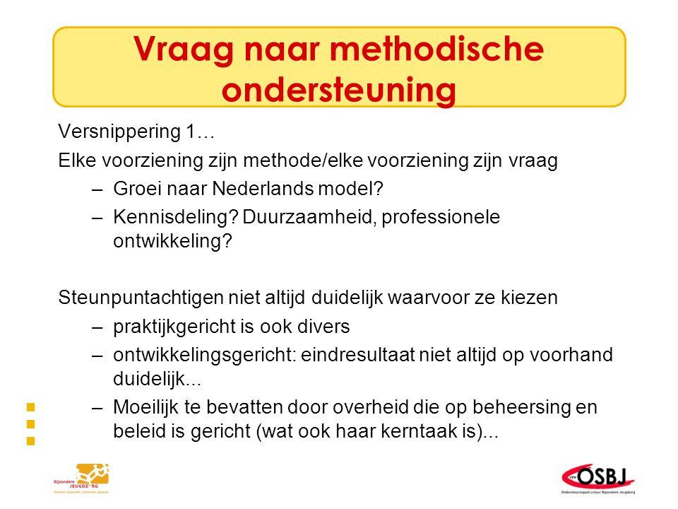 Vraag naar methodische ondersteuning Versnippering 1… Elke voorziening zijn methode/elke voorziening zijn vraag –Groei naar Nederlands model? –Kennisd