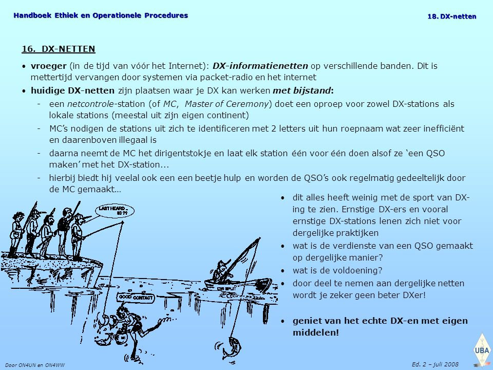 Handboek Ethiek en Operationele Procedures Door ON4UN en ON4WW Ed. 2 – juli 2008 18. DX-netten 16. DX-NETTEN vroeger (in de tijd van vóór het Internet