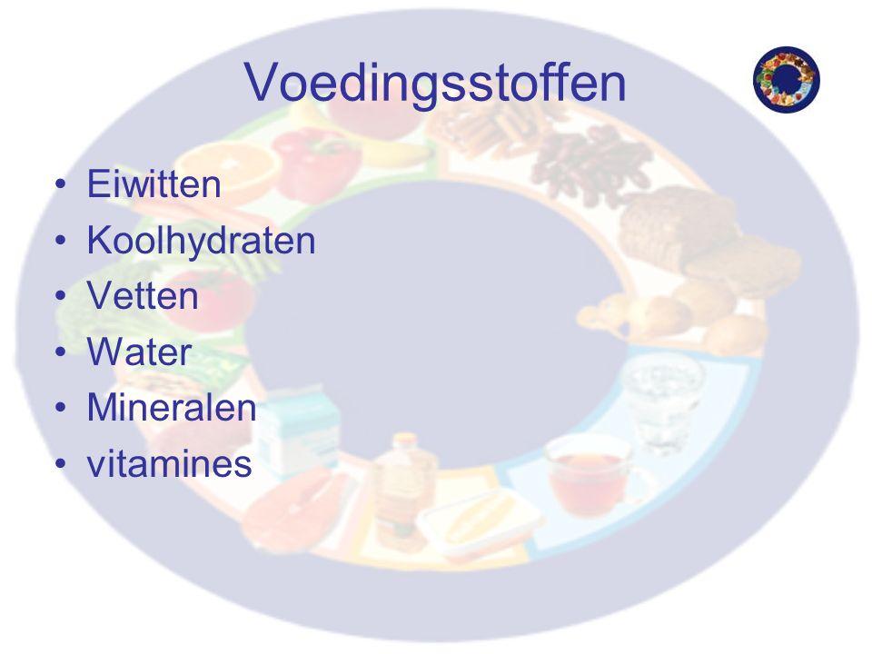 Voedingsstoffen Eiwitten Koolhydraten Vetten Water Mineralen vitamines